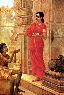220px Ravi Varma Lady Giving Alms at the Temple
